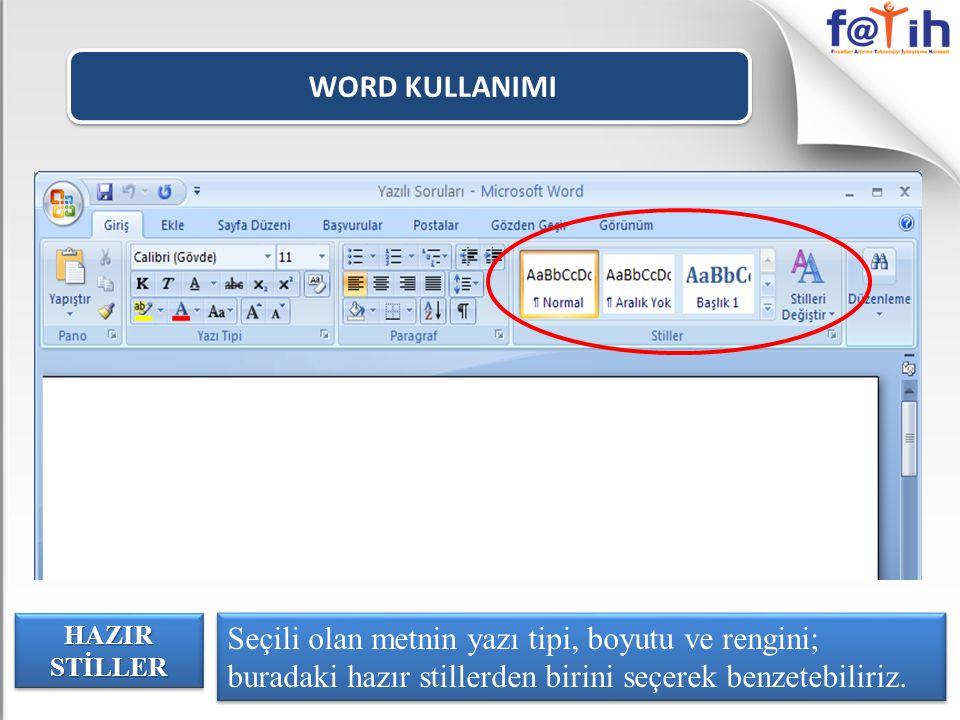 WORD KULLANIMI Seçili olan metnin yazı tipi, boyutu ve rengini; buradaki hazır stillerden birini seçerek benzetebiliriz.