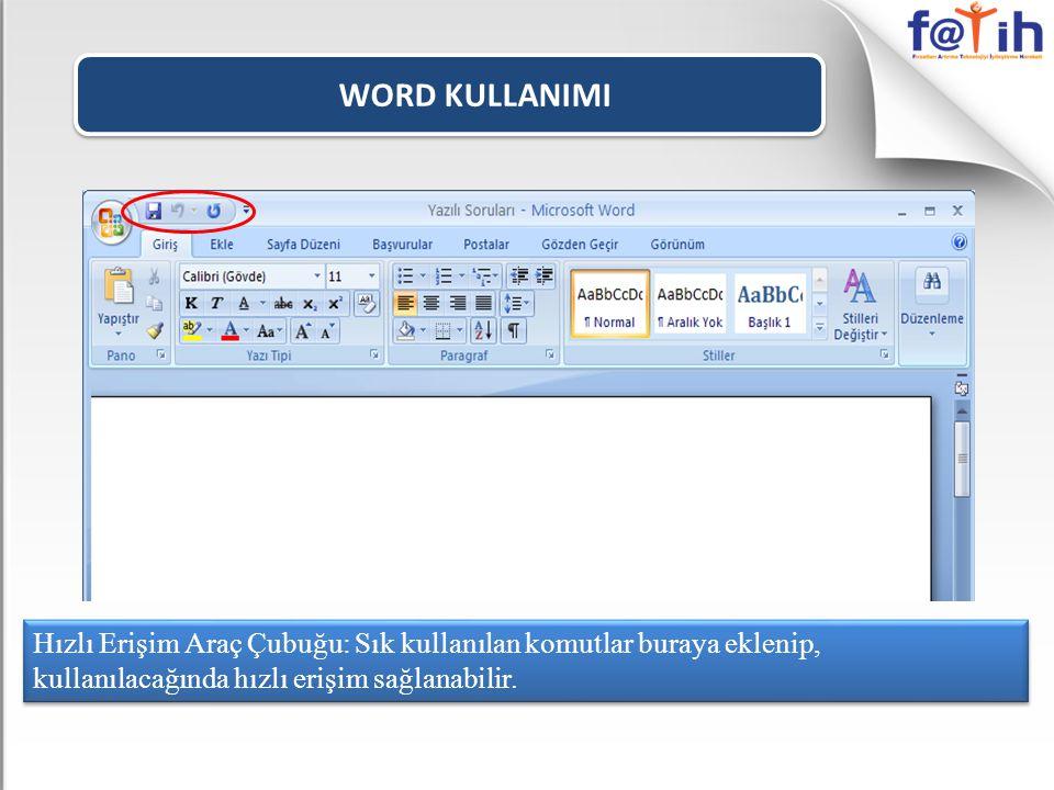 WORD KULLANIMI Sayfada yazı yazarken üstten, alttan, soldan ve sağdan bırakılacak olan boşluklar bu komut ile ayarlanabilir.