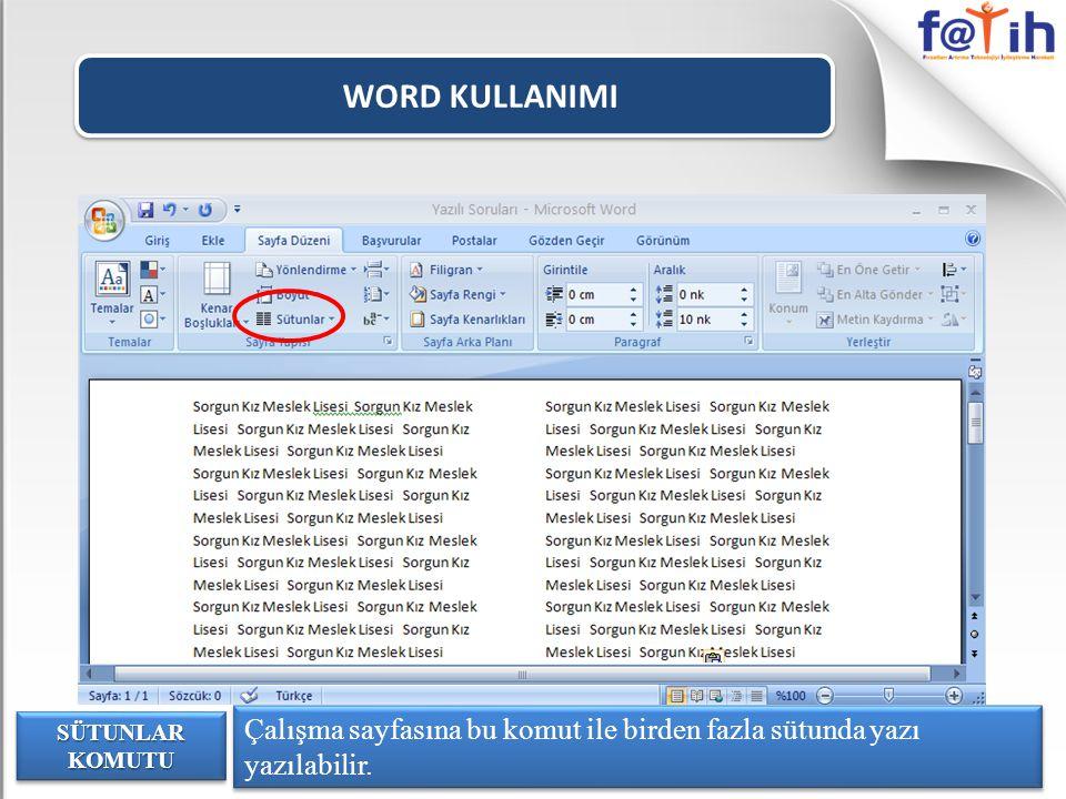 WORD KULLANIMI Çalışma sayfasına bu komut ile birden fazla sütunda yazı yazılabilir.