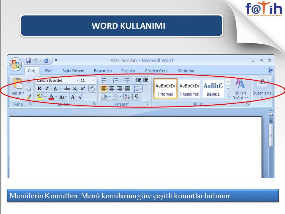 WORD KULLANIMI Nesnenin aynısından bir tane daha oluşturmak için KOPYALA komutu kullanılır.