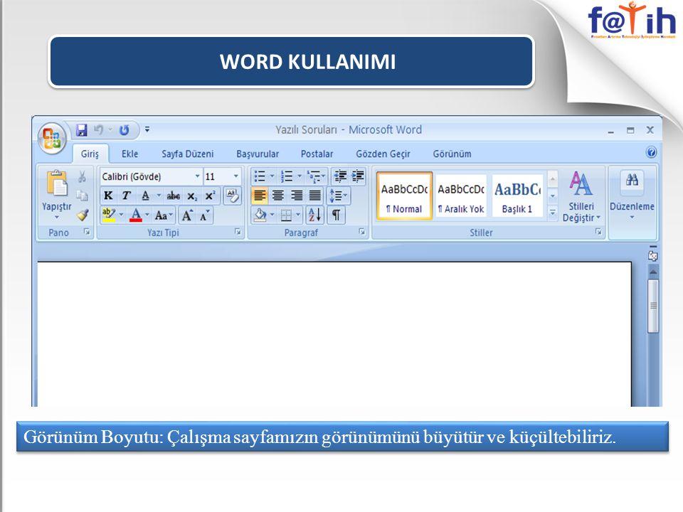 WORD KULLANIMI Word programında yazı yazabilmek için imlecin yanıp söndüğünü görmemiz gerekir.