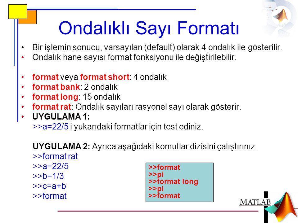 Ondalıklı Sayı Formatı •Bir işlemin sonucu, varsayılan (default) olarak 4 ondalık ile gösterilir. •Ondalık hane sayısı format fonksiyonu ile değiştiri