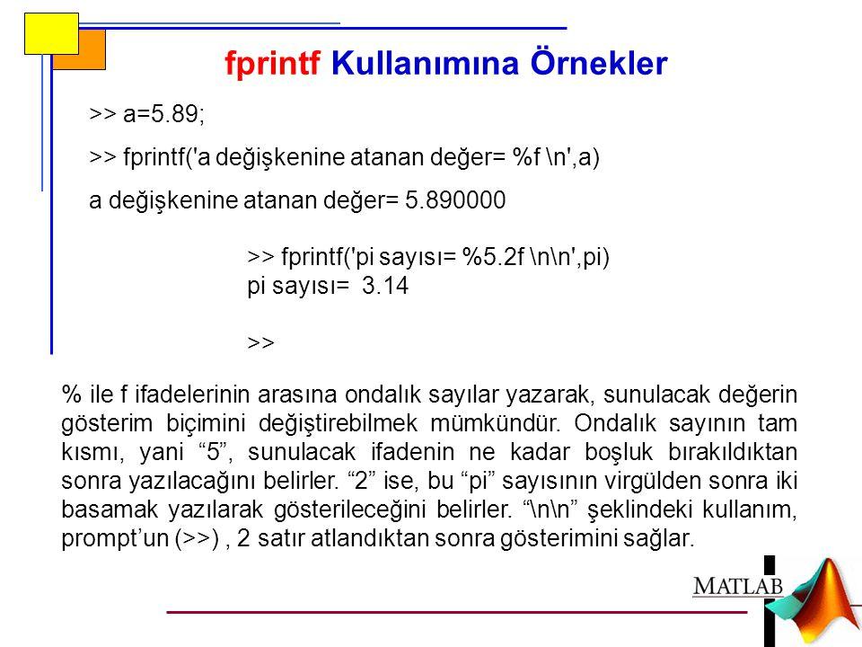 >> a=5.89; >> fprintf('a değişkenine atanan değer= %f \n',a) a değişkenine atanan değer= 5.890000 >> fprintf('pi sayısı= %5.2f \n\n',pi) pi sayısı= 3.
