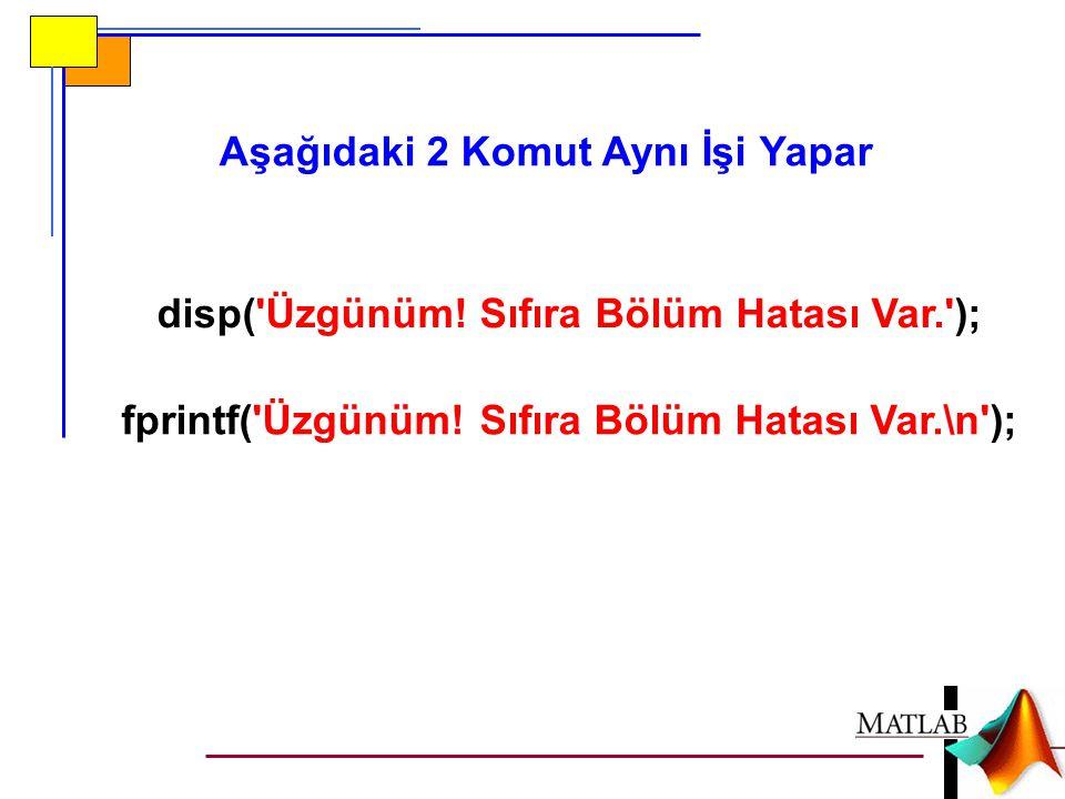 disp('Üzgünüm! Sıfıra Bölüm Hatası Var.'); fprintf('Üzgünüm! Sıfıra Bölüm Hatası Var.\n'); Aşağıdaki 2 Komut Aynı İşi Yapar