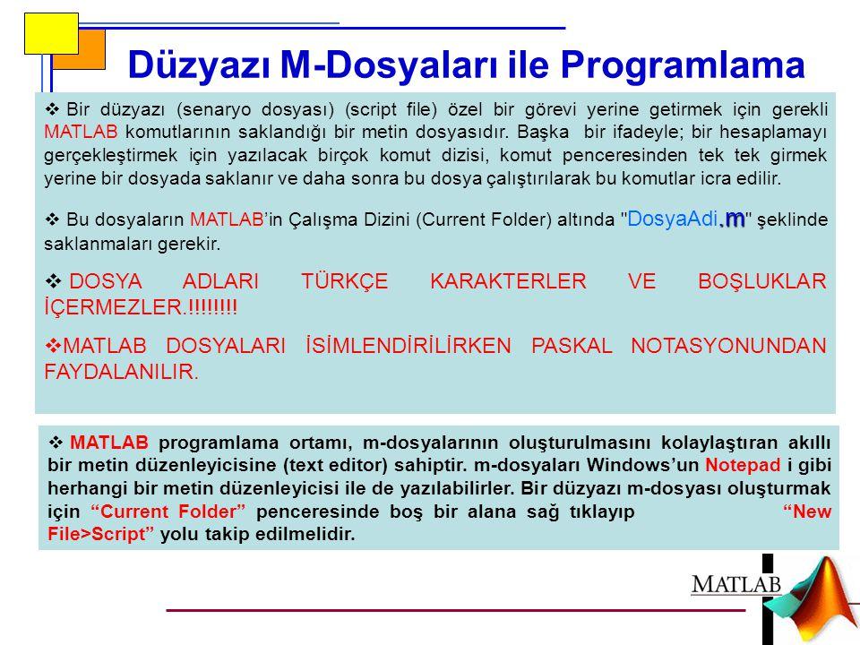 Düzyazı M-Dosyaları ile Programlama  Bir düzyazı (senaryo dosyası) (script file) özel bir görevi yerine getirmek için gerekli MATLAB komutlarının sak