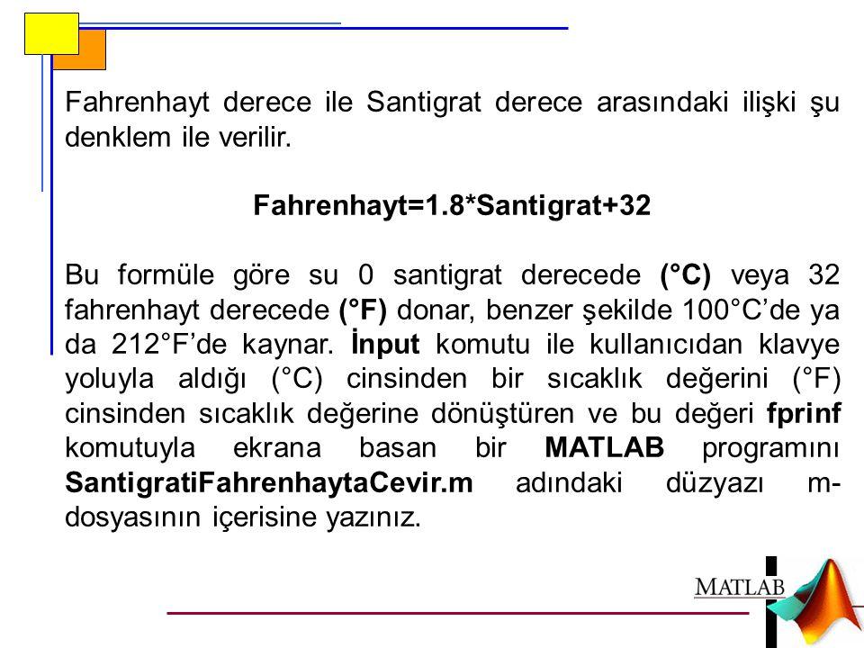 Fahrenhayt derece ile Santigrat derece arasındaki ilişki şu denklem ile verilir. Fahrenhayt=1.8*Santigrat+32 Bu formüle göre su 0 santigrat derecede (