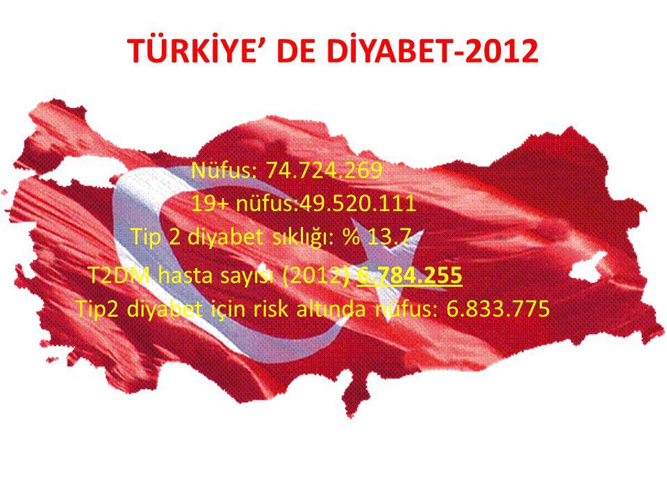 Nüfus: 74.724.269 19+ nüfus:49.520.111 Tip 2 diyabet sıklığı: % 13.7 T2DM hasta sayısı (2012) 6.784.255 Tip2 diyabet için risk altında nüfus: 6.833.77