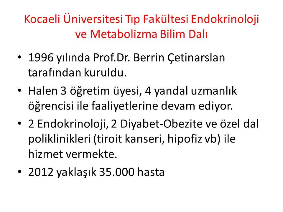 Kocaeli Üniversitesi Tıp Fakültesi Endokrinoloji ve Metabolizma Bilim Dalı • 1996 yılında Prof.Dr. Berrin Çetinarslan tarafından kuruldu. • Halen 3 öğ