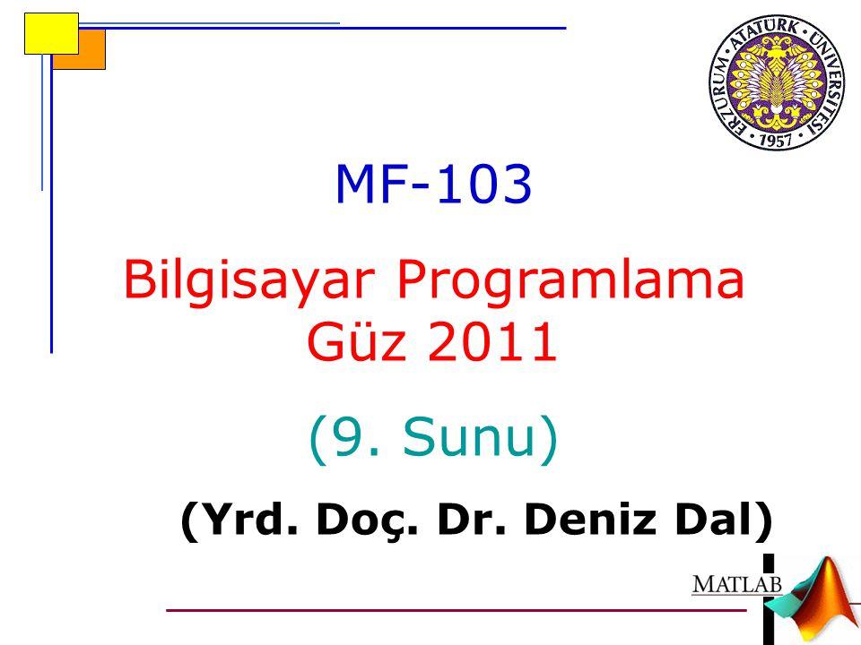 MF-103 Bilgisayar Programlama Güz 2011 (9. Sunu) (Yrd. Doç. Dr. Deniz Dal)