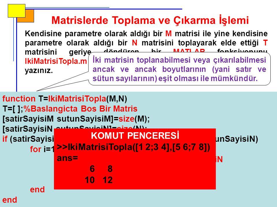Matrislerde Toplama ve Çıkarma İşlemi Kendisine parametre olarak aldığı bir M matrisi ile yine kendisine parametre olarak aldığı bir N matrisini toplayarak elde ettiği T matrisini geriye döndüren bir MATLAB fonksiyonunu IkiMatrisiTopla.m adındaki fonksiyon m-dosyasının içerisine yazınız.