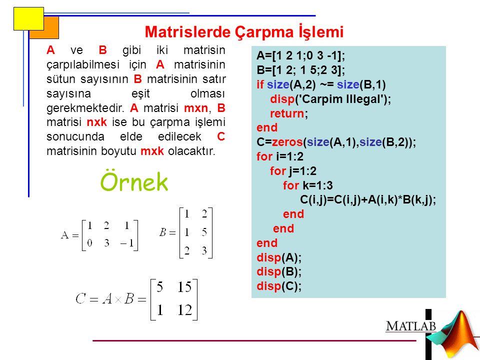 Matrislerde Çarpma İşlemi A ve B gibi iki matrisin çarpılabilmesi için A matrisinin sütun sayısının B matrisinin satır sayısına eşit olması gerekmekte