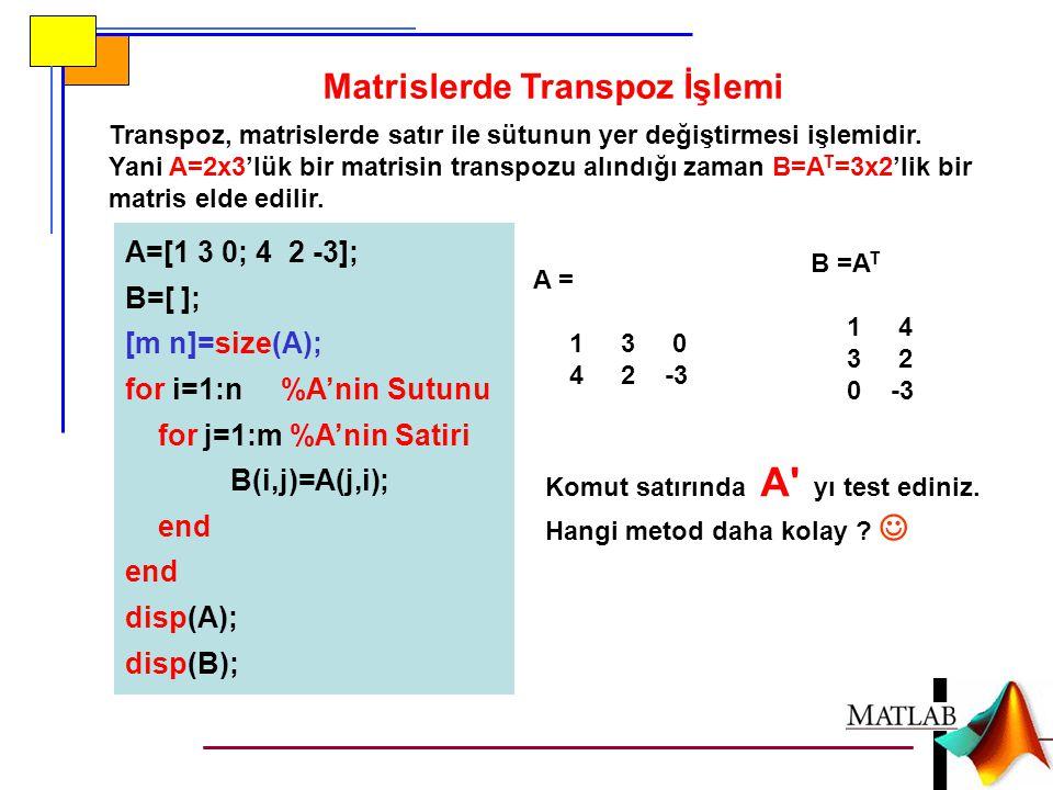 Transpoz, matrislerde satır ile sütunun yer değiştirmesi işlemidir. Yani A=2x3'lük bir matrisin transpozu alındığı zaman B=A T =3x2'lik bir matris eld