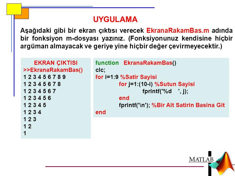 UYGULAMA Aşağıdaki gibi bir ekran çıktısı verecek EkranaRakamBas.m adında bir fonksiyon m-dosyası yazınız. (Fonksiyonunuz kendisine hiçbir argüman alm