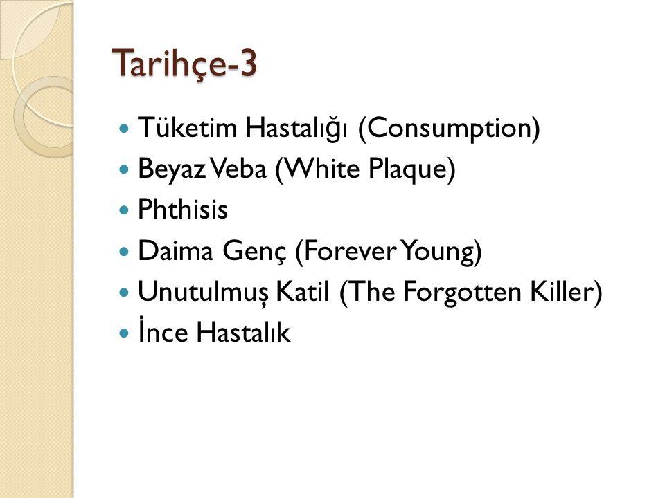 Tarihçe-3  Tüketim Hastalı ğ ı (Consumption)  Beyaz Veba (White Plaque)  Phthisis  Daima Genç (Forever Young)  Unutulmuş Katil (The Forgotten Killer)  İ nce Hastalık