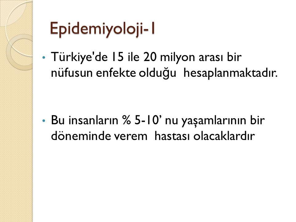 Epidemiyoloji-1 • Türkiye'de 15 ile 20 milyon arası bir nüfusun enfekte oldu ğ u hesaplanmaktadır. • Bu insanların % 5-10' nu yaşamlarının bir dönemin