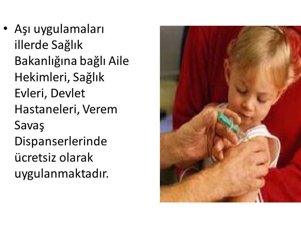 • Aşı uygulamaları illerde Sağlık Bakanlığına bağlı Aile Hekimleri, Sağlık Evleri, Devlet Hastaneleri, Verem Savaş Dispanserlerinde ücretsiz olarak uygulanmaktadır.