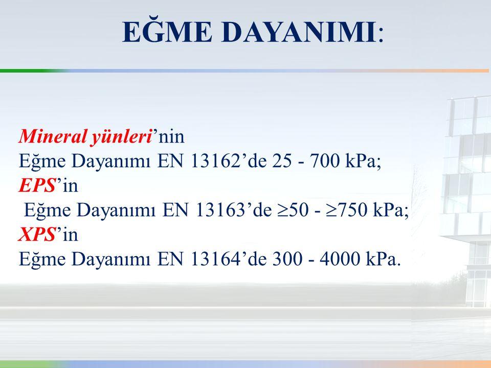 Mineral yünleri'nin Eğme Dayanımı EN 13162'de 25 - 700 kPa; EPS'in Eğme Dayanımı EN 13163'de  50 -  750 kPa; XPS'in Eğme Dayanımı EN 13164'de 300 - 4000 kPa.