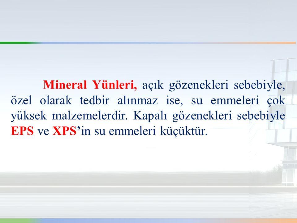 Mineral Yünleri, açık gözenekleri sebebiyle, özel olarak tedbir alınmaz ise, su emmeleri çok yüksek malzemelerdir.