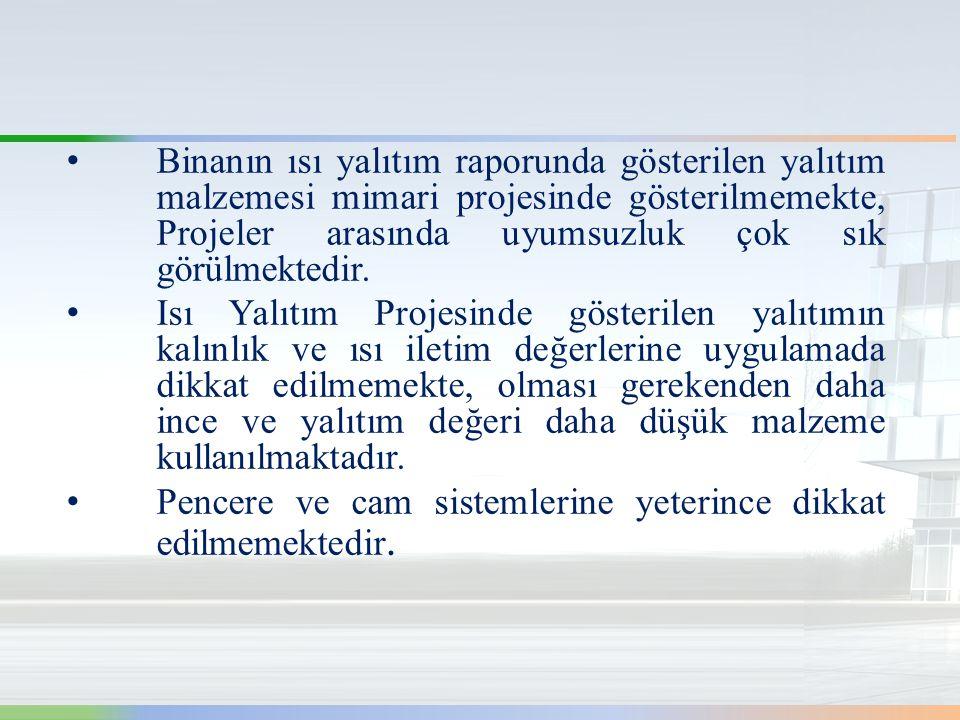 • Binanın ısı yalıtım raporunda gösterilen yalıtım malzemesi mimari projesinde gösterilmemekte, Projeler arasında uyumsuzluk çok sık görülmektedir.