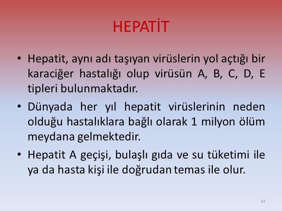 HEPATİT • Hepatit, aynı adı taşıyan virüslerin yol açtığı bir karaciğer hastalığı olup virüsün A, B, C, D, E tipleri bulunmaktadır.