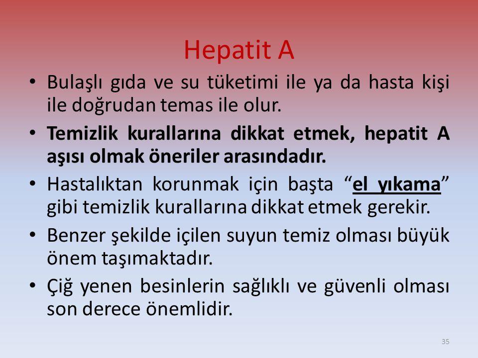 Hepatit A • Bulaşlı gıda ve su tüketimi ile ya da hasta kişi ile doğrudan temas ile olur.