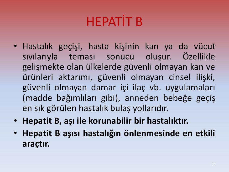 HEPATİT B • Hastalık geçişi, hasta kişinin kan ya da vücut sıvılarıyla teması sonucu oluşur.