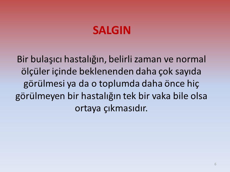 SALGIN Bir bulaşıcı hastalığın, belirli zaman ve normal ölçüler içinde beklenenden daha çok sayıda görülmesi ya da o toplumda daha önce hiç görülmeyen bir hastalığın tek bir vaka bile olsa ortaya çıkmasıdır.