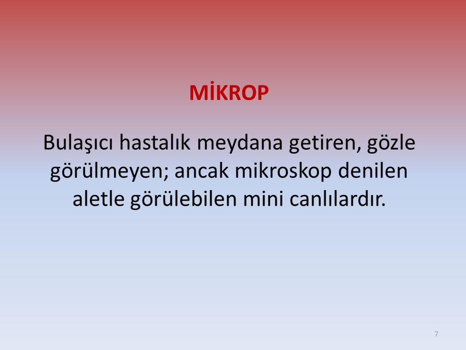 MİKROP Bulaşıcı hastalık meydana getiren, gözle görülmeyen; ancak mikroskop denilen aletle görülebilen mini canlılardır.