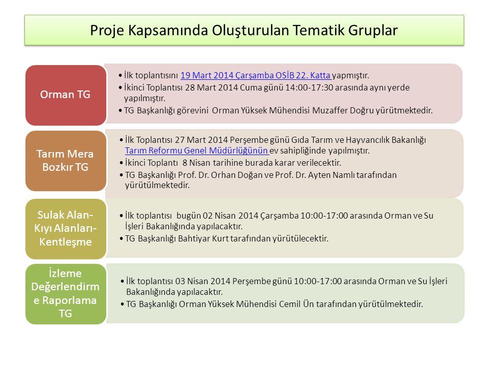 Proje Kapsamında Oluşturulan Tematik Gruplar •İlk toplantısını 19 Mart 2014 Çarşamba OSİB 22.