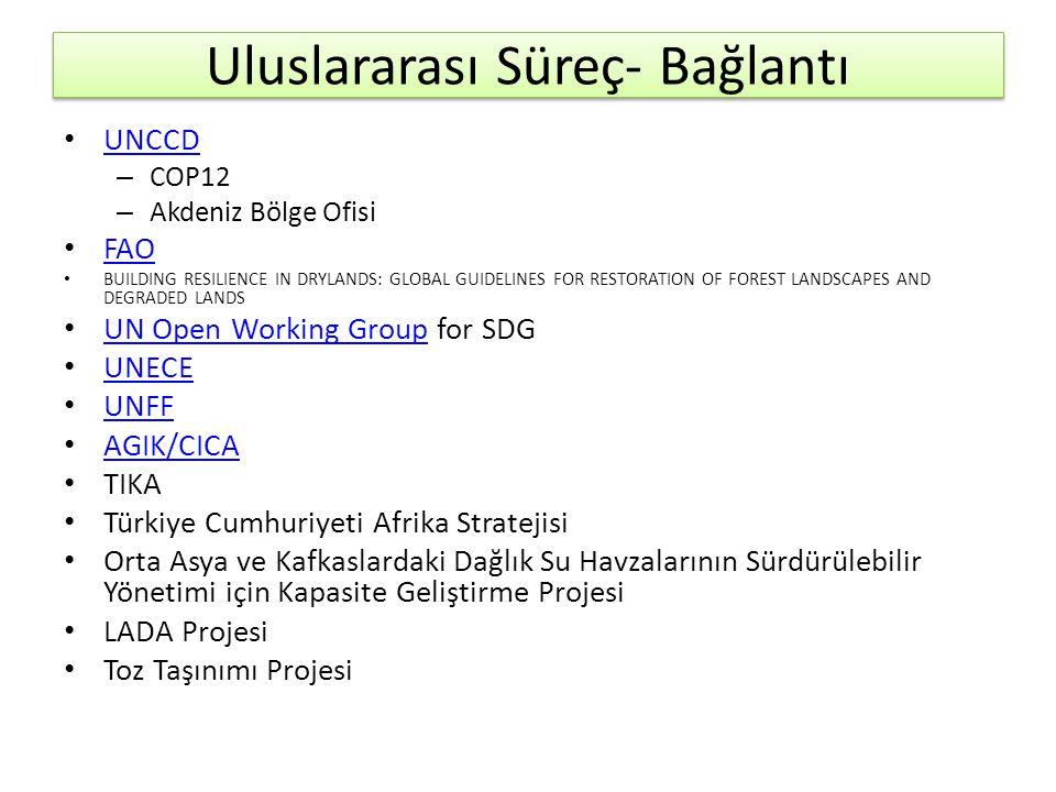 Uluslararası Süreç- Bağlantı • UNCCD UNCCD – COP12 – Akdeniz Bölge Ofisi • FAO FAO • BUILDING RESILIENCE IN DRYLANDS: GLOBAL GUIDELINES FOR RESTORATION OF FOREST LANDSCAPES AND DEGRADED LANDS • UN Open Working Group for SDG UN Open Working Group • UNECE UNECE • UNFF UNFF • AGIK/CICA AGIK/CICA • TIKA • Türkiye Cumhuriyeti Afrika Stratejisi • Orta Asya ve Kafkaslardaki Dağlık Su Havzalarının Sürdürülebilir Yönetimi için Kapasite Geliştirme Projesi • LADA Projesi • Toz Taşınımı Projesi