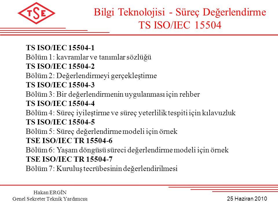 25 Haziran 2010 Hakan ERGİN Genel Sekreter Teknik Yardımcısı TS ISO/IEC 15504-1 Bölüm 1: kavramlar ve tanımlar sözlüğü TS ISO/IEC 15504-2 Bölüm 2: Değ