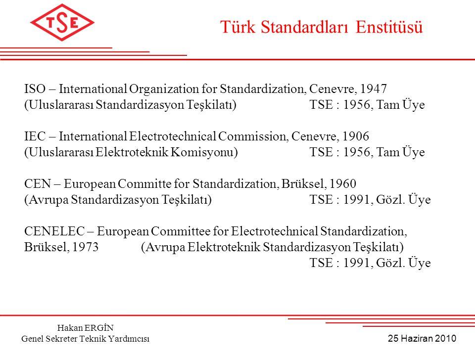25 Haziran 2010 Hakan ERGİN Genel Sekreter Teknik Yardımcısı ISO – International Organization for Standardization, Cenevre, 1947 (Uluslararası Standar