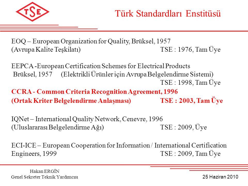 25 Haziran 2010 Hakan ERGİN Genel Sekreter Teknik Yardımcısı EOQ – European Organization for Quality, Brüksel, 1957 (Avrupa Kalite Teşkilatı) TSE : 19