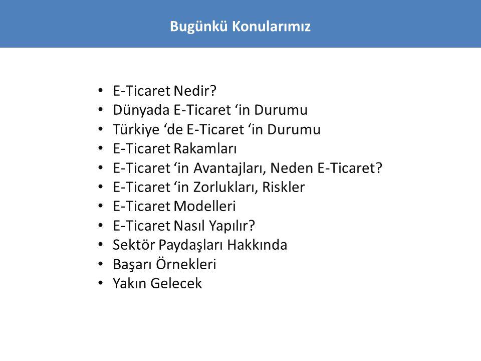 Bugünkü Konularımız • E-Ticaret Nedir? • Dünyada E-Ticaret 'in Durumu • Türkiye 'de E-Ticaret 'in Durumu • E-Ticaret Rakamları • E-Ticaret 'in Avantaj