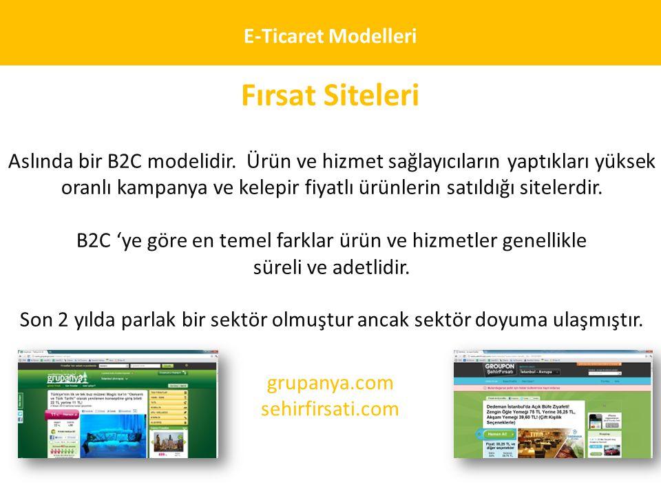 E-Ticaret Modelleri Fırsat Siteleri Aslında bir B2C modelidir. Ürün ve hizmet sağlayıcıların yaptıkları yüksek oranlı kampanya ve kelepir fiyatlı ürün