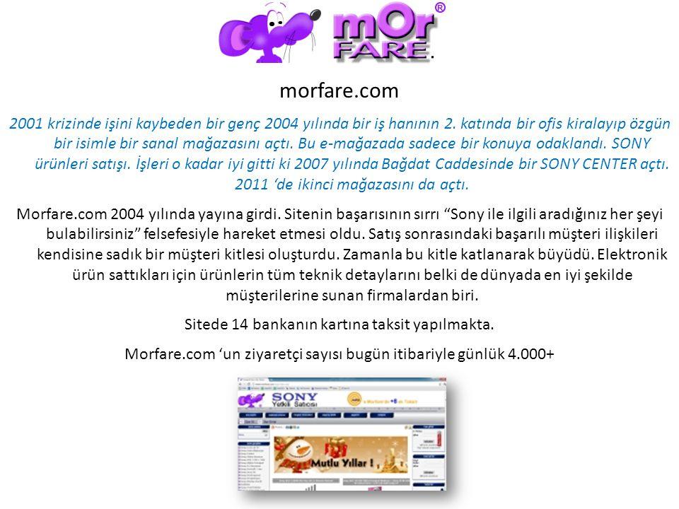 morfare.com 2001 krizinde işini kaybeden bir genç 2004 yılında bir iş hanının 2. katında bir ofis kiralayıp özgün bir isimle bir sanal mağazasını açtı