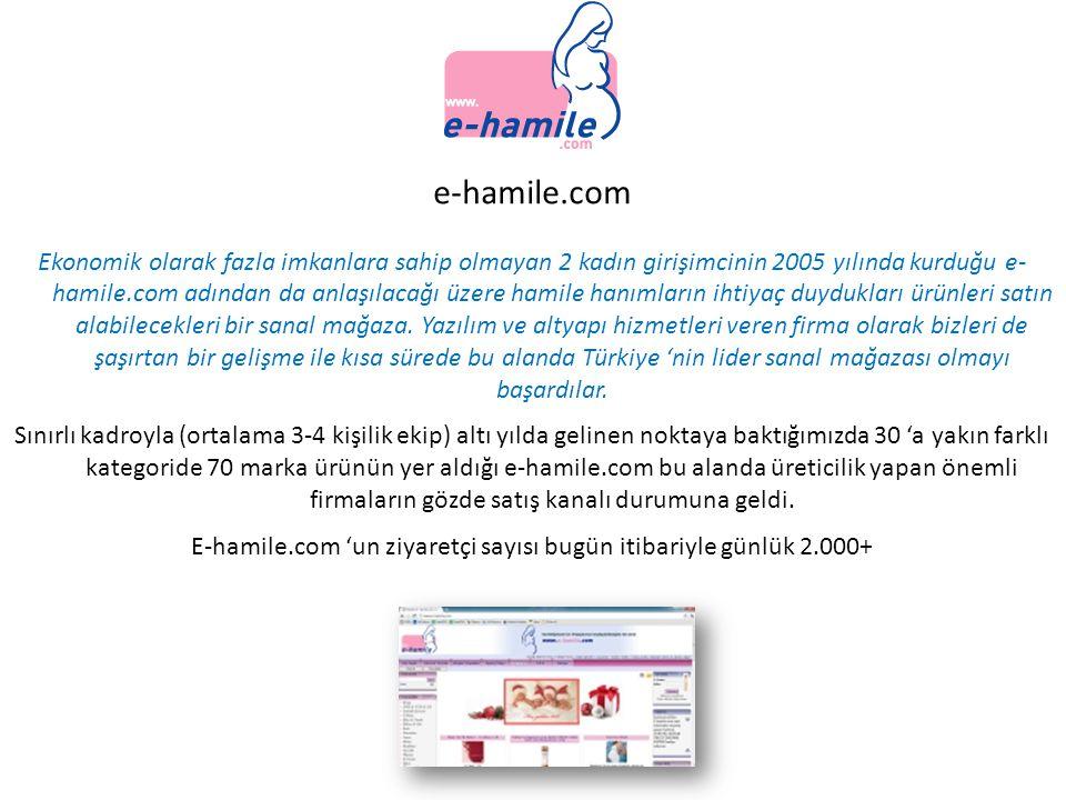 e-hamile.com Ekonomik olarak fazla imkanlara sahip olmayan 2 kadın girişimcinin 2005 yılında kurduğu e- hamile.com adından da anlaşılacağı üzere hamil