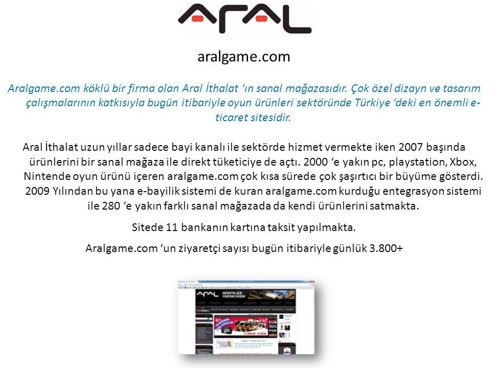 aralgame.com Aralgame.com köklü bir firma olan Aral İthalat 'ın sanal mağazasıdır. Çok özel dizayn ve tasarım çalışmalarının katkısıyla bugün itibariy