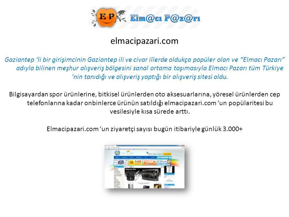 """elmacipazari.com Gaziantep 'li bir girişimcinin Gaziantep ili ve civar illerde oldukça popüler olan ve """"Elmacı Pazarı"""" adıyla bilinen meşhur alışveriş"""