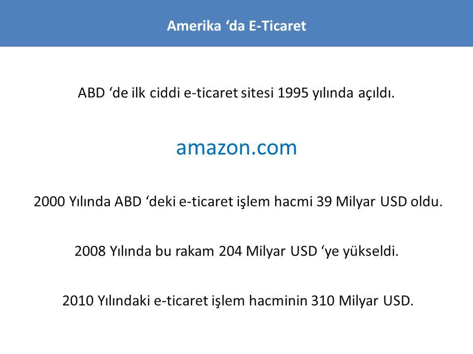 Amerika 'da E-Ticaret ABD 'de ilk ciddi e-ticaret sitesi 1995 yılında açıldı. amazon.com 2000 Yılında ABD 'deki e-ticaret işlem hacmi 39 Milyar USD ol