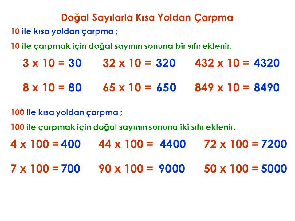 Doğal Sayılarla Kısa Yoldan Çarpma 10 ile kısa yoldan çarpma ; 3 x 10 = 10 ile çarpmak için doğal sayının sonuna bir sıfır eklenir. 30 8 x 10 =80 32 x