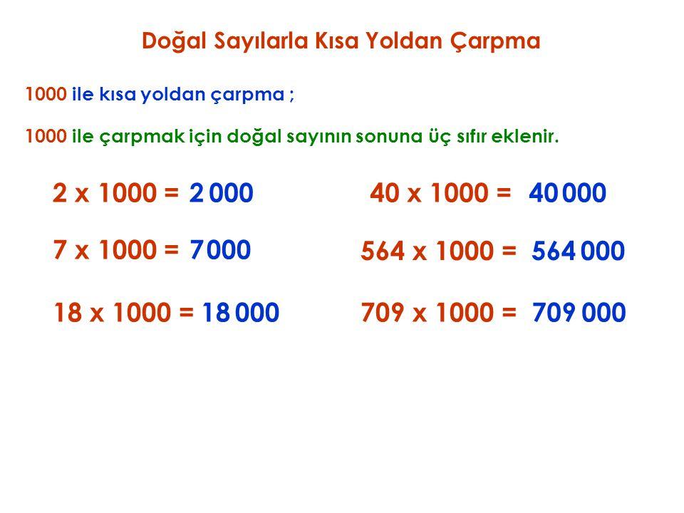 Doğal Sayılarla Kısa Yoldan Çarpma 1000 ile kısa yoldan çarpma ; 2 x 1000 = 1000 ile çarpmak için doğal sayının sonuna üç sıfır eklenir. 2000 7 x 1000
