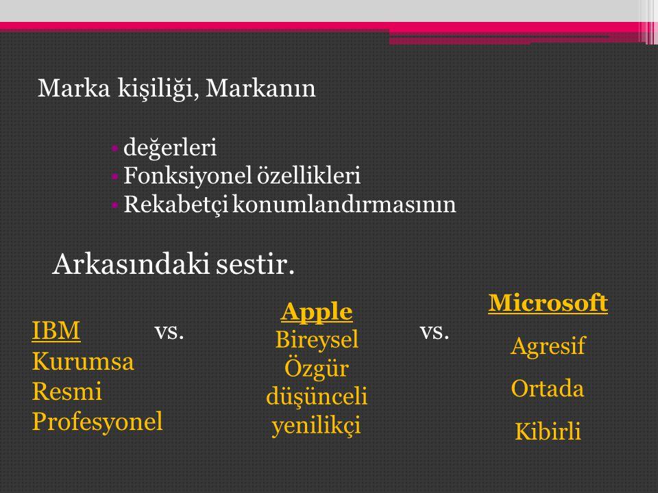 Marka kişiliği, Markanın •değerleri •Fonksiyonel özellikleri •Rekabetçi konumlandırmasının Arkasındaki sestir. IBMvs. vs. Kurumsa Resmi Profesyonel Mi