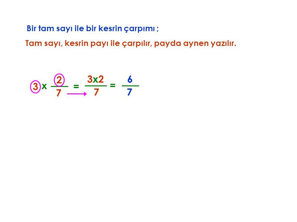 Bir tam sayı ile bir kesrin çarpımı ; Tam sayı, kesrin payı ile çarpılır, x 3 7 2 7 3x2 = payda aynen yazılır. = 7 6