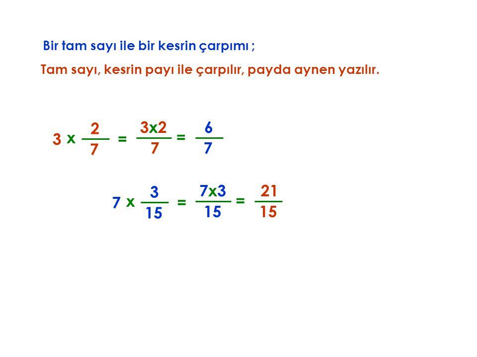 Bir tam sayı ile bir kesrin çarpımı ; Tam sayı, kesrin payı ile çarpılır, x 3 7 2 7 3x23x2 = payda aynen yazılır. = 7 6 x 7 15 3 15 7x3 = = 15 21