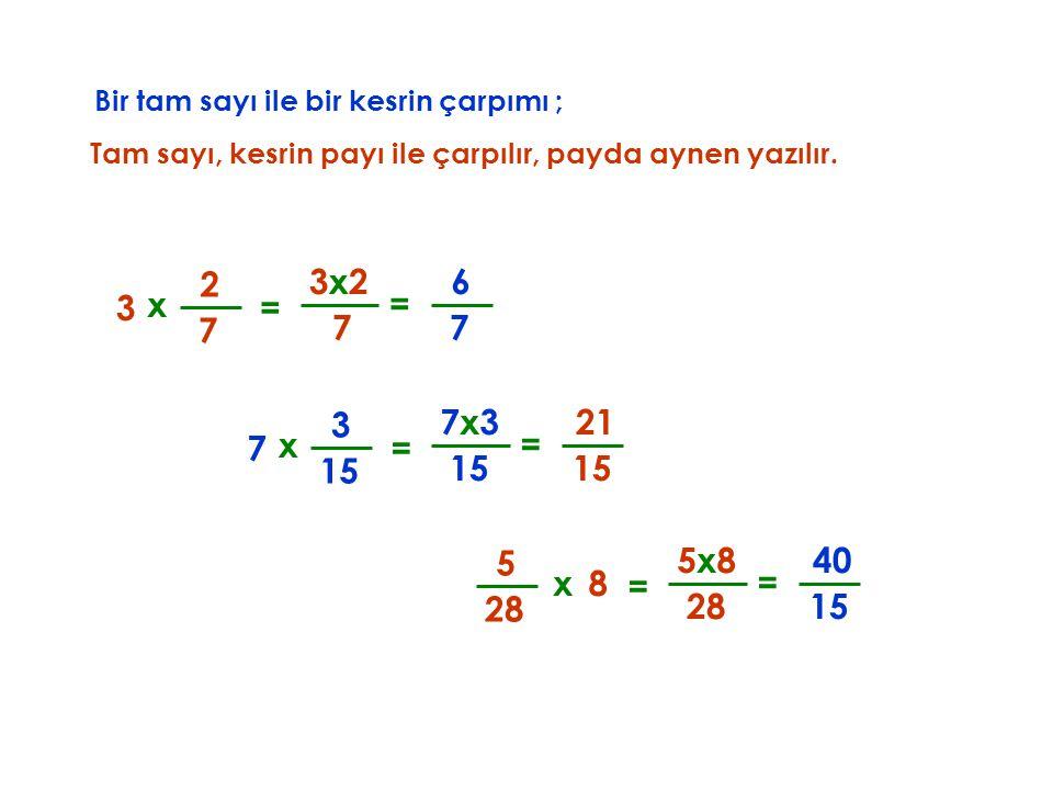 Bir tam sayı ile bir kesrin çarpımı ; Tam sayı, kesrin payı ile çarpılır, x 3 7 2 7 3x23x2 = payda aynen yazılır. = 7 6 x 7 15 3 7x37x3 = = 21 x8 28 5