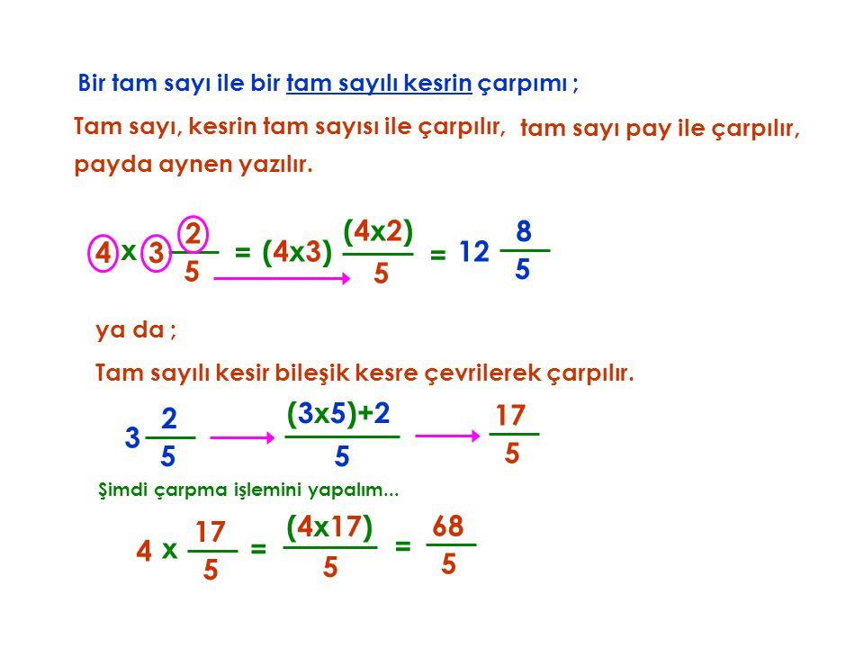 Bir tam sayı ile bir tam sayılı kesrin çarpımı ; Tam sayı, kesrin tam sayısı ile çarpılır, x 4 5 2 5 (4x2)(4x2) = tam sayı pay ile çarpılır, = 5 8 3 (4x3)(4x3)12 payda aynen yazılır.