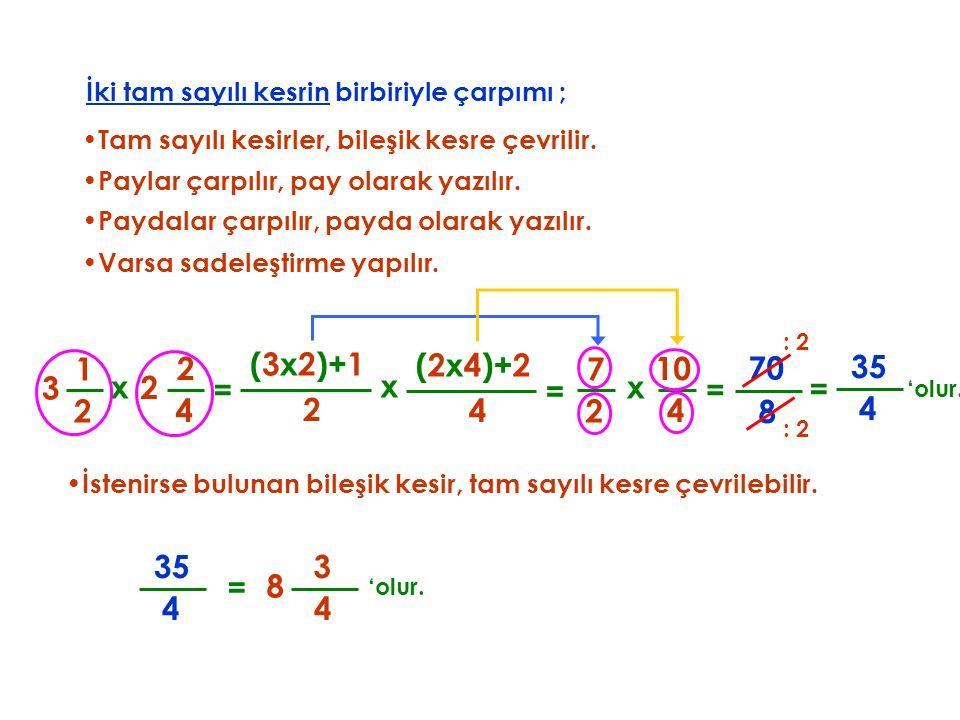 2 İki tam sayılı kesrin birbiriyle çarpımı ; •T•Tam sayılı kesirler, bileşik kesre çevrilir. x 4 2 (3x2)+1 = •P•Paydalar çarpılır, payda olarak yazılı