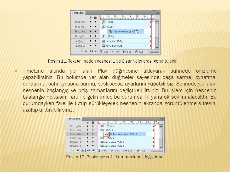  TimeLine altında yer alan Play düğmesine tıklayarak sahnede önizleme yapabilirsiniz.