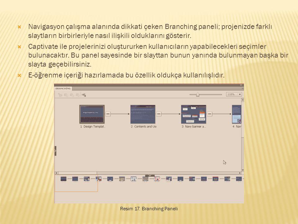  Navigasyon çalışma alanında dikkati çeken Branching paneli; projenizde farklı slaytların birbirleriyle nasıl ilişkili olduklarını gösterir.
